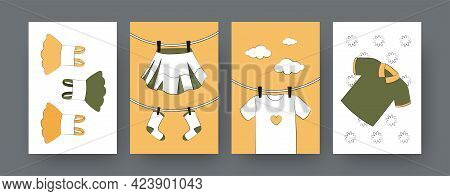 Set Of Contemporary Art Posters With Kids Shirt And Dresses. Skirt And Socks Drying On Clothesline C