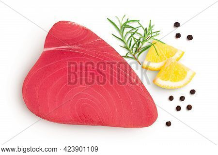 Fresh Tuna Fish Fillet Steak With Rosemary, Lemon And Peppercorns Isolated On White Background With
