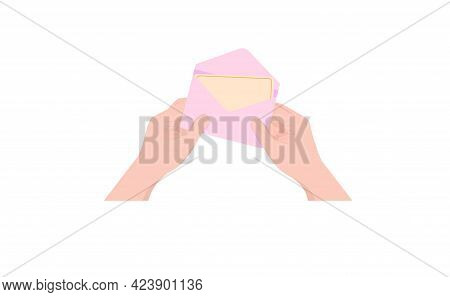 Hands Are Holding A Pink Notification Envelope. Letter, Correspondence, New Message, Incoming Messag