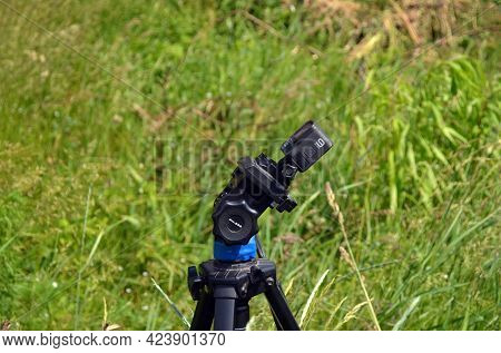 Action camera gopro hero 9 black makes time lapse clouds and sky.June 15 2021. Kiev region. Ukraine