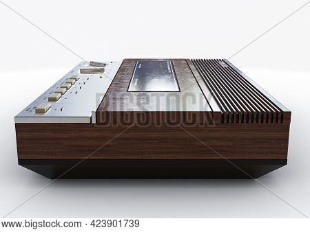 A Vintage Analogue Answering Machine For The 80's Made Of Wood And Chrome On An Isolated White Backg