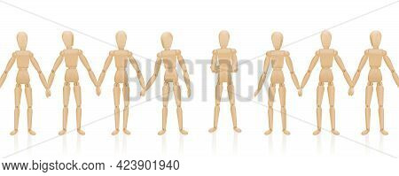 Human Chain With Maverick Figure Who Does Not Hold Hands. Symbol For Refuser, Outsider, Denier, Lone