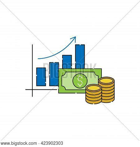 Money Chart icon Vector. Money icon. Money icon vector. Money Chart icon Vector. Money with Bar and Graph icon. Money symbol. Money Sign. Dollar Money icon. Money icon logo template. Money vector icon design for website, logo, sign, symbol, app