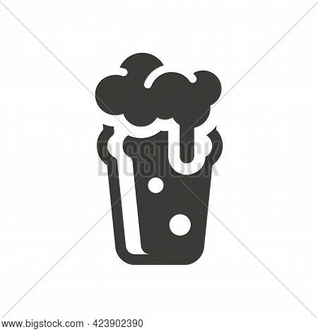 Nonic Pint Glass Black Vector Icon. Cute Beer Glass Symbol With Foam And Bubbles.