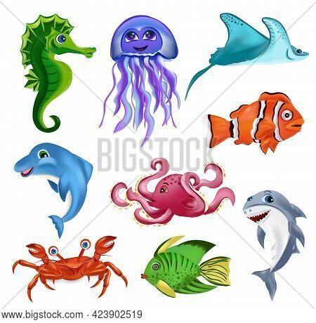 Sea Creature, Dolphin, Octopus, Shark, Tropical Fish, Sea Horse, Stingray, Jellyfish, Crab. Cartoon