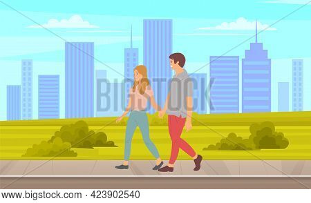 Happy Couple Man And Woman Spend Time Together Outdoor. People Walking In City Park, Summer Or Sprin
