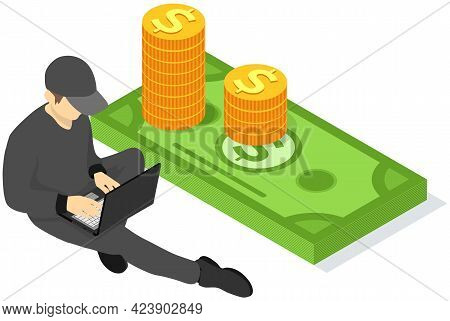 Man Freelancer Working Or Studying At Laptop, Businessman In Black Clothes Sitting Near Stack Of Dol