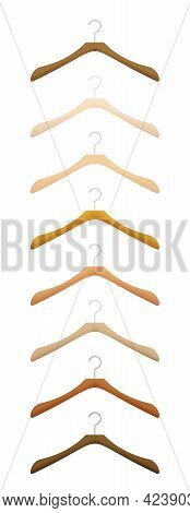 Wooden Hangers For Clothes, Coat Hanger Set, Various Woods And Textures. Isolated Vector Illustratio