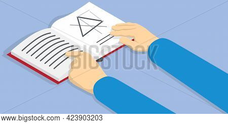 Businessman Hands Open Book With Symbols On Pages. Man Shows Text On Textbook Page. Person Reads Boo