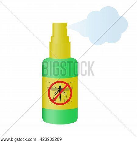 Aerosol Spray For Ticks. Vector Illustration In A Cartoon Style.