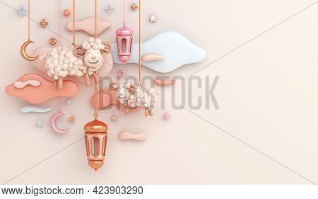 Eid Al Adha Islamic Decoration Background With Goat Sheep Arabic Lantern Crescent, Ramadan Kareem, M