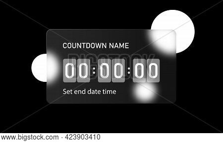 Glassmorphism Style. Countdown Timer Counter Icon. Remaining Countdown. Realistic Glass Morphism Eff