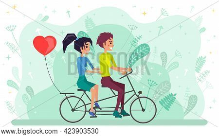 Couple Riding Twin Or Tandem Bicycle. Woman And Man Spend Time On Date Actively. Summer Activity Con