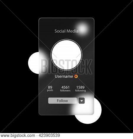 Glassmorphism Style. Social Media Preview Page. Internet Profile Information. Follow Button. Photo M
