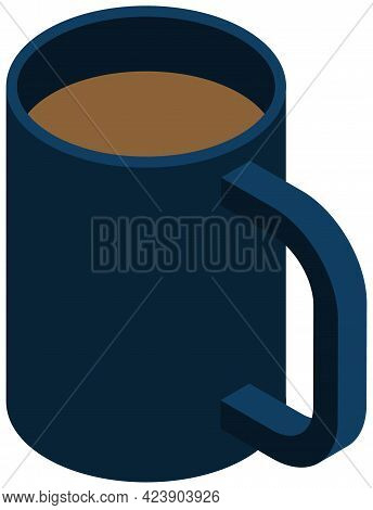 Cup Of Coffee Or Cappuccino, Side View Vector. Dark Blue Mug With Hot Tea Isolated On White Backgrou