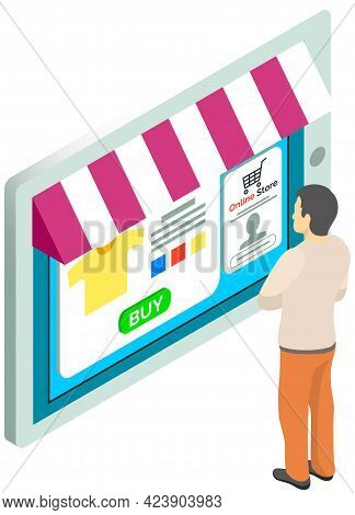 Shopping With Special Store Application. Man Is Using Tablet With App For Buying And Ordering. Male