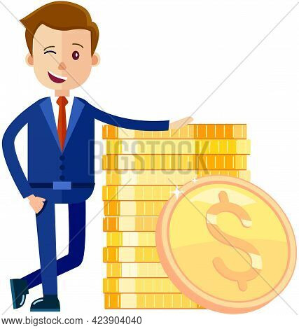 Billionaire Businessman Near Stack Of Golden Coins. Rich Man In Costume Shoveling Up Money. Man With