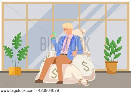 Successful Businessman Is Sitting In Office On Pile Of Money Bags With Dollars In Hand. Business Suc