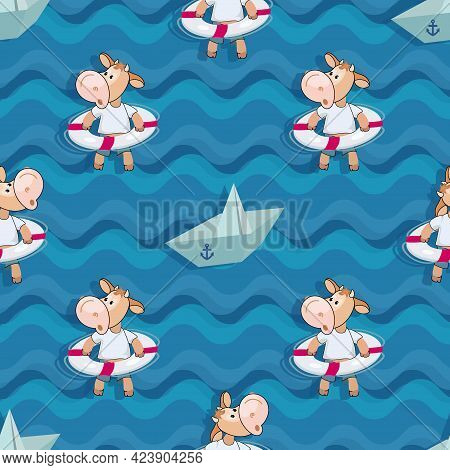 Paper Boat, Calf. Sea Background. Summer Rest. Funny Calf With A Lifebuoy On Wave. Cartoon Style. Se