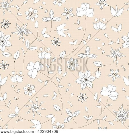 Simple Floral Pattern Of White Flowers On A Beige Background. Stylized Vector Print, Folk Slavic Orn