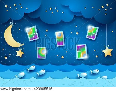 Seascape At Night With Windows And Stars. Vector Illustration Eps10