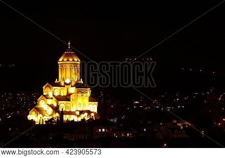 Amazing View Of The Holy Trinity Cathedral Of Tbilisi At Night, Historic Place In Tbilisi, Georgia