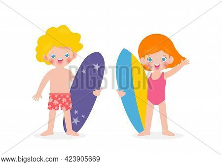 Summer Time And Set Of Cute Surfer Caucasian Children Character With Surfboard On Beach. Happy Young