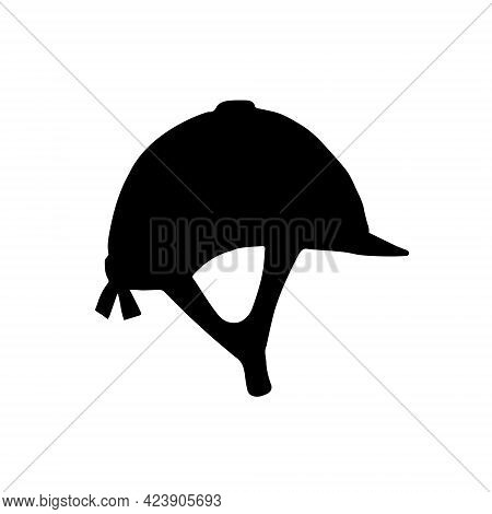Vector Hand Drawn Equestrian Horse Riding Helmet Silhouette Isolated On White Background