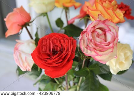 Beautiful Bouquet Of Bright Colorful Roses, Close-up