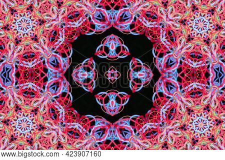 Abstract Concentric Pattern Of Bright Multicolored Threads With 3d Effect
