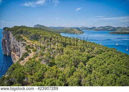 Kornati Islands National Park Telascica Bay Archipelago Aerial Panoramic View, Landscape Of Dalmatia