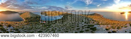 Best 360 Degrees Photo Of Sunset Kornati Islands National Park Archipelago View, Landscape Of Dalmat