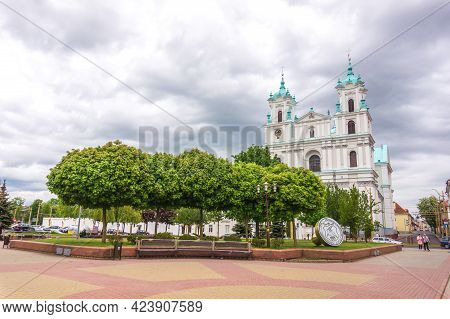 Grodno, Belarus - May 22, 2021: Cathedral Of Saint Francis Xavier In Grodno, Farny Church Facade, Ma