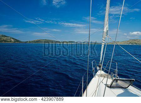 Bow Of A Sailing Ship Near The Kornati Islands In Croatia Europe