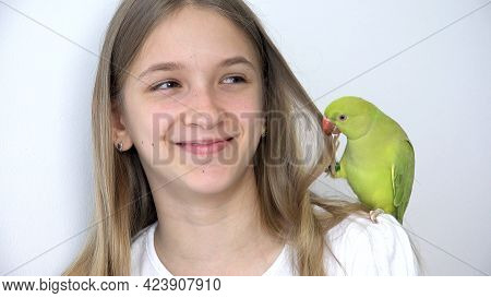 Girl Talk Parrot, Happy Kid Playing Her Pet, Child Plays Bird At Home, Funny Indian Ring-necked Para