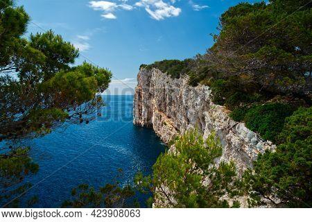 Kornati Islands Cliff National Park Archipelago View, Landscape Of Dalmatia, Croatia In Europe