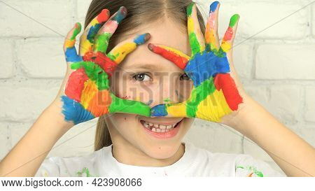 Child Playing Painted Hands, Child Looking In Camera, Smiling School Blonde Girl Face, Homeschooling