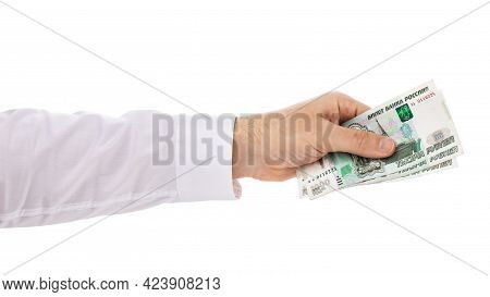 Hand Giving Three Thousand Rubles Isolated On White Background