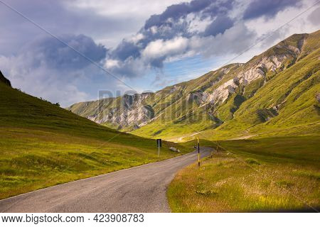 Natural Landscape With A Road In Mountains