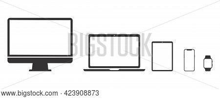 Set Technology Devices Icon: Tv, Computer, Laptop, Tablet, Smartphone. Watch