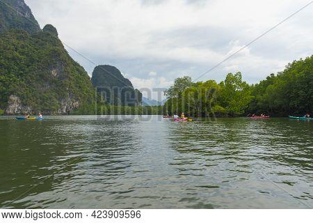 Group Of Tourists Kayaking At Ao Tha Lane, Krabi, Thailand