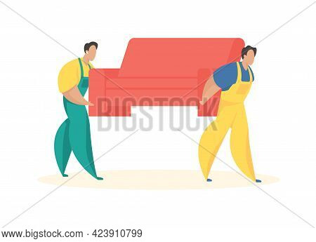 Men In Uniforms Carry Sofa. Service Of Loading And Delivery Things. Professional Loaders For Fast Fu