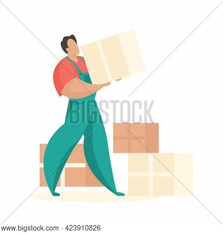 Loader With Boxes Of Things. Professional Workers For Transportation And Delivery Furniture And Inte
