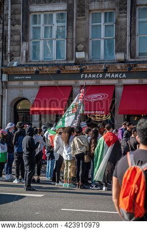 London, Uk - May 29, 2021: A Group Of Protestors At A Freedom For Palestine Rally In London Protesti