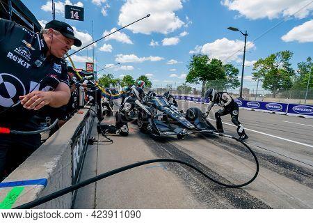 June 13, 2021 - Detroit, Michigan, USA: SEBASTIEN BOURDAIS (14) of Le Mans, France brings his car in for service during the Chevrolet Detroit Grand Prix at Belle Isle in Detroit Michigan.