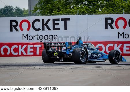 June 13, 2021 - Detroit, Michigan, USA: JIMMIE JOHNSON (R) (48) of The United States races through the turns during the  race for the Chevrolet Detroit Grand Prix at Belle Isle in Detroit, Michigan.