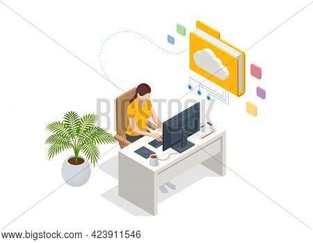 Isometric Cloud Technology. Woman Working From Home. Global Outsourcing, People Using Cloud System I