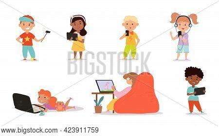 Diverse Multiracial Kids Using Various Gadgets. Laptop, Tablet Pc, Smartphone. Education Process, Ed