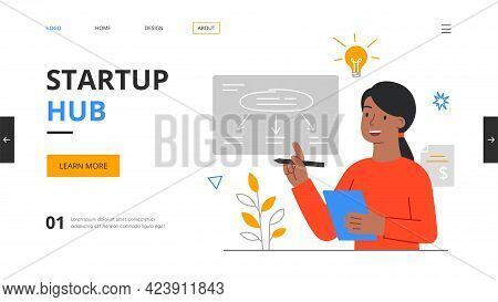 Startup Hub, Incubator Or Accelerator Concept. Angel Investor, Online Meetup, Online Crowdfunding, E