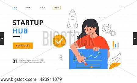 Startup Hub, Incubator Or Accelerator Concept. Angel Investor, Online Meeting, Crowdfunding, Entrepr
